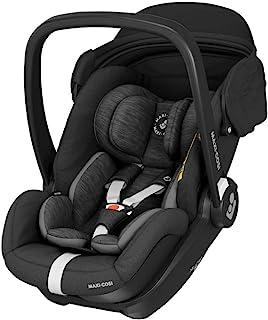 Maxi-Cosi Marble Babyschale, i-Size Baby-Autositz mit 157° Liegefunktion, Gruppe 0 40-85 cm / 0-13 kg nutzbar ab der Geburt bis ca. 13 Monate, inkl. Marble Isofix Basisstation, essential black