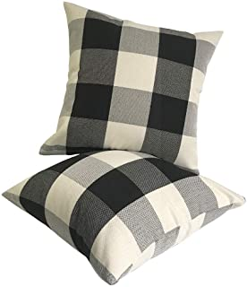 U-LOVE 2Pack Rustic Tartan Checkered Throw Pillow Covers Farmhouse Decor Retro Buffalo Check Plaid Cotton Linen Decorative...