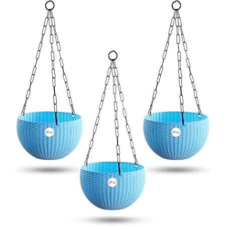 Kraft Seeds Hanging Planter Euro Elegance Round Solid Look and Feel Pots for Home & Balcony Garden 17.5cm Diameter (Pack of 3) Blue