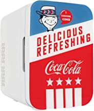 Cooluli K10LGA Mini Fridge Coca-Cola Americana Retro (10 Liter/12 Can)-Portable AC/DC Powered Cooler and Warmer for Cars, Road Trips, Homes, Offices, and Dorms, (Renewed)