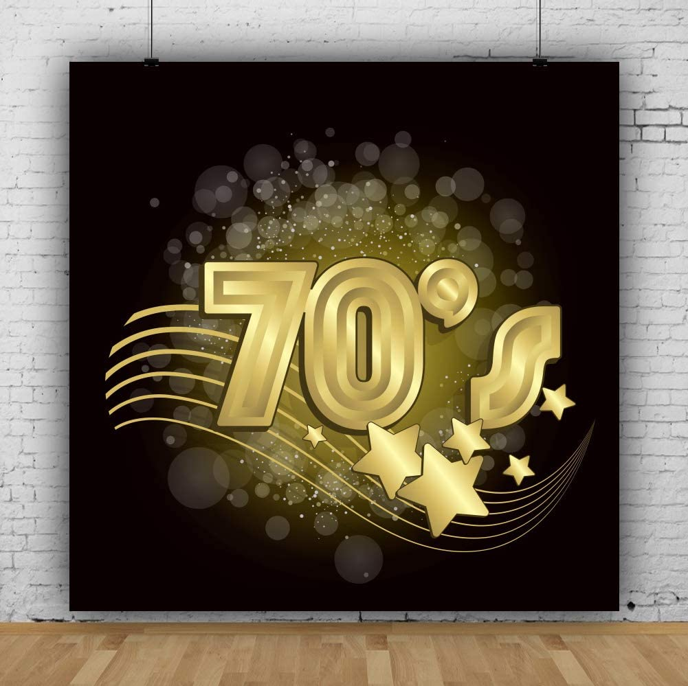 CSFOTO Black and Gold 70s Backdrop 7x7ft Back to 70s Background for Photography 70s Disco Party Adults Photo Backdrop