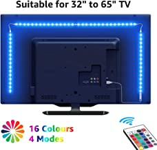 "LE TV Backlights, 2M USB LED Light Strip with RF Remote, Dimmable RGB Mood Lights, SMD 5050 Bias Lighting for 32 - 65"" TVs, Computer, Gaming Monitor and More (4 x 50cm)"