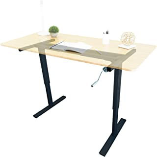 Ergo Elements Manual Height Adjustable Stand Up Desk Frame Crank System Ergonomic Standing 2 Leg Workstation, Black