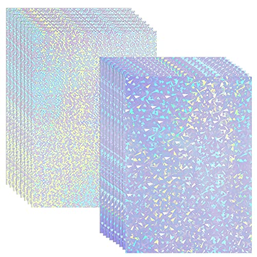 36 Hojas de Papel Adhesivo Holográfico Vinilo Transparente A4 Película Impermeable con Patrón Estrella Arcoíris Punto Gema, 11,7 x 8,3 Pulgadas (Gema, Punto)