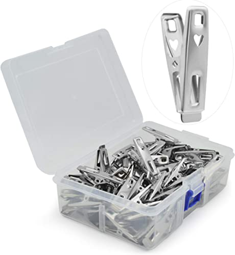 VIPbuy 60 pièces en acier inoxydable pinces à linge en métal vêtements pinces broches clips avec boîte de rangement p...