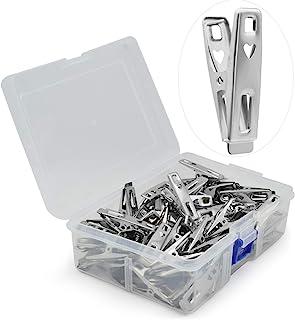 VIPbuy 60 pièces en acier inoxydable pinces à linge en métal vêtements pinces broches clips avec boîte de rangement pour v...