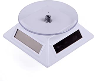 HDE Solar Powered Rotating Rotary Display Stand Turntable Collectible Show Case - White