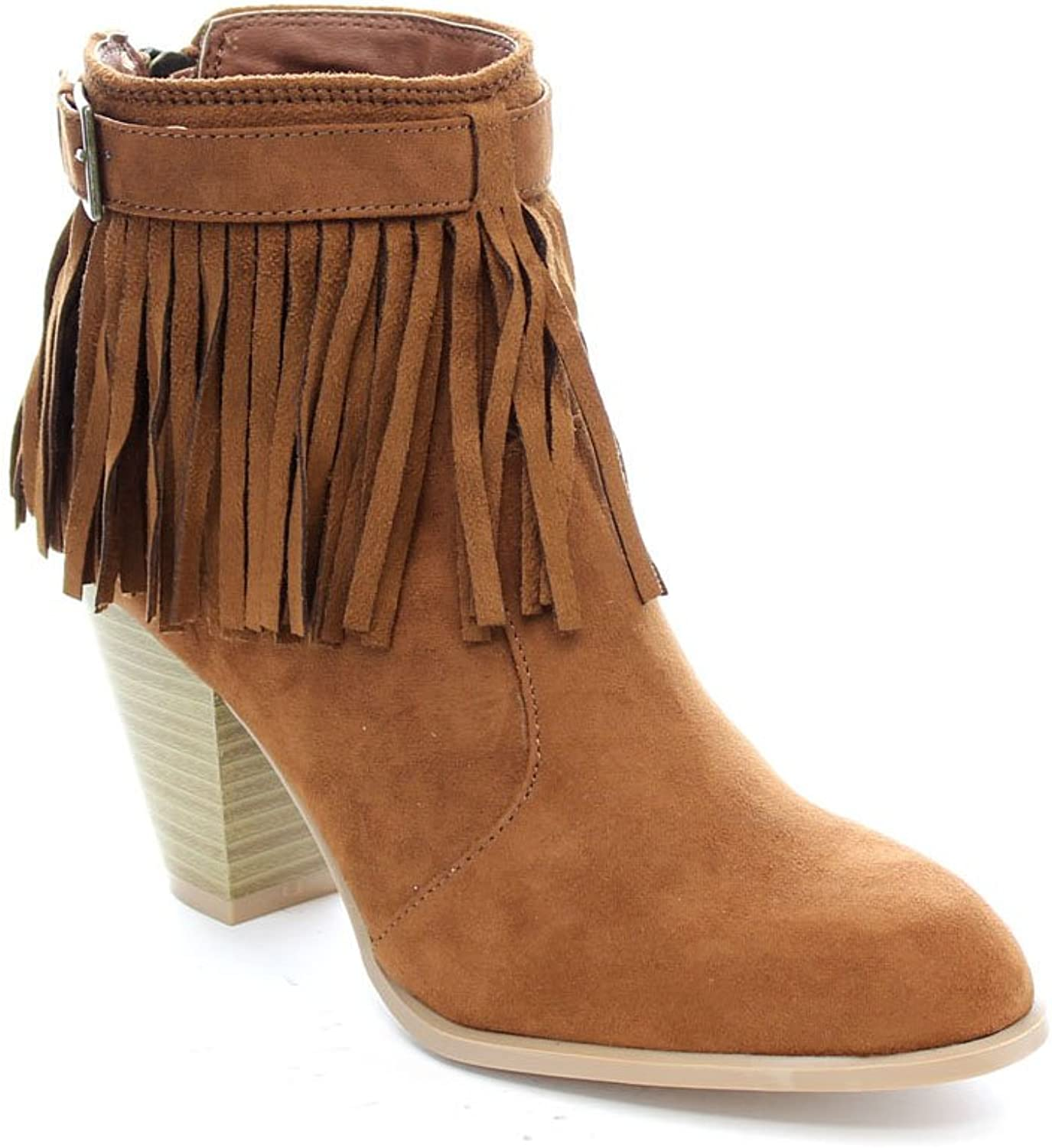 Qupid Salty-21X Women's Fringe Pointy Toe Stacked Chunky Heel Ankle Booties,Dark Rust,10