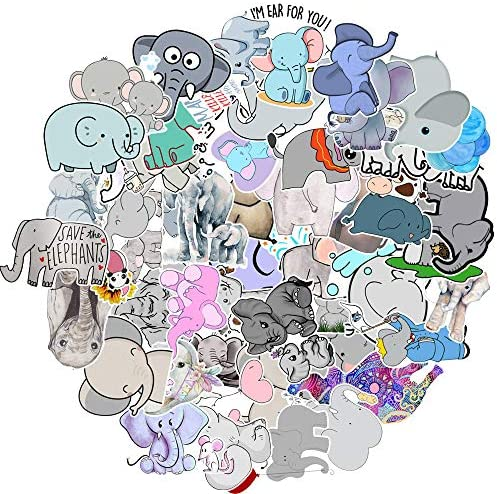 50 Pack Cute Elephant Stickers Water Bottles Laptop Car Hydroflasks Phone Guitar Skateboard product image
