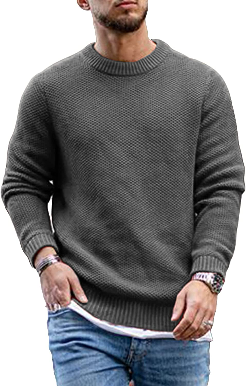Ryannology Mens Pullover Sweaters Casual Cable Knitted Crewneck Winter Soft Lightweight Sweaters