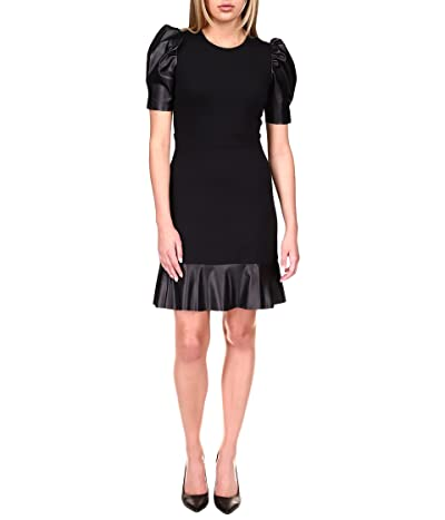 MICHAEL Michael Kors Ponte Leather Mix Ruffle Dress