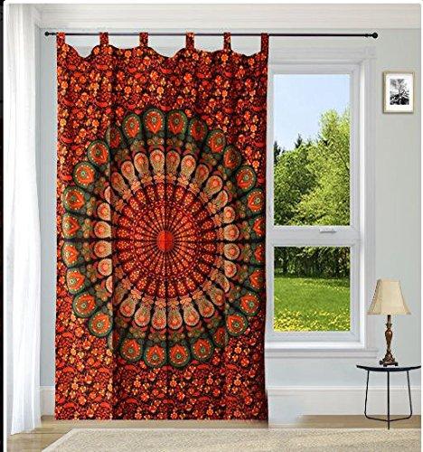 Sophia-Art indische Baumwolle Weihnachtsgeschenk Mandala Tapisserievorhänge Boho-Vorhänge Tapisserievorhänge Mandala Wandbehang Indische Gardinen Mandala Fenster Behandlung Tür Hängen
