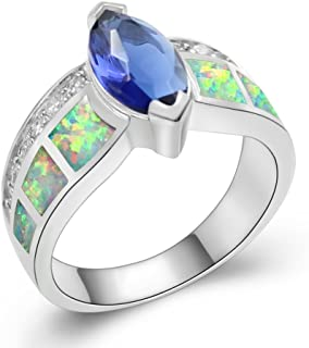 Silver Created Fire Opal Accent Ring Sapphire Tanzanite Cubic Zirconia Marquise Women Jewelry