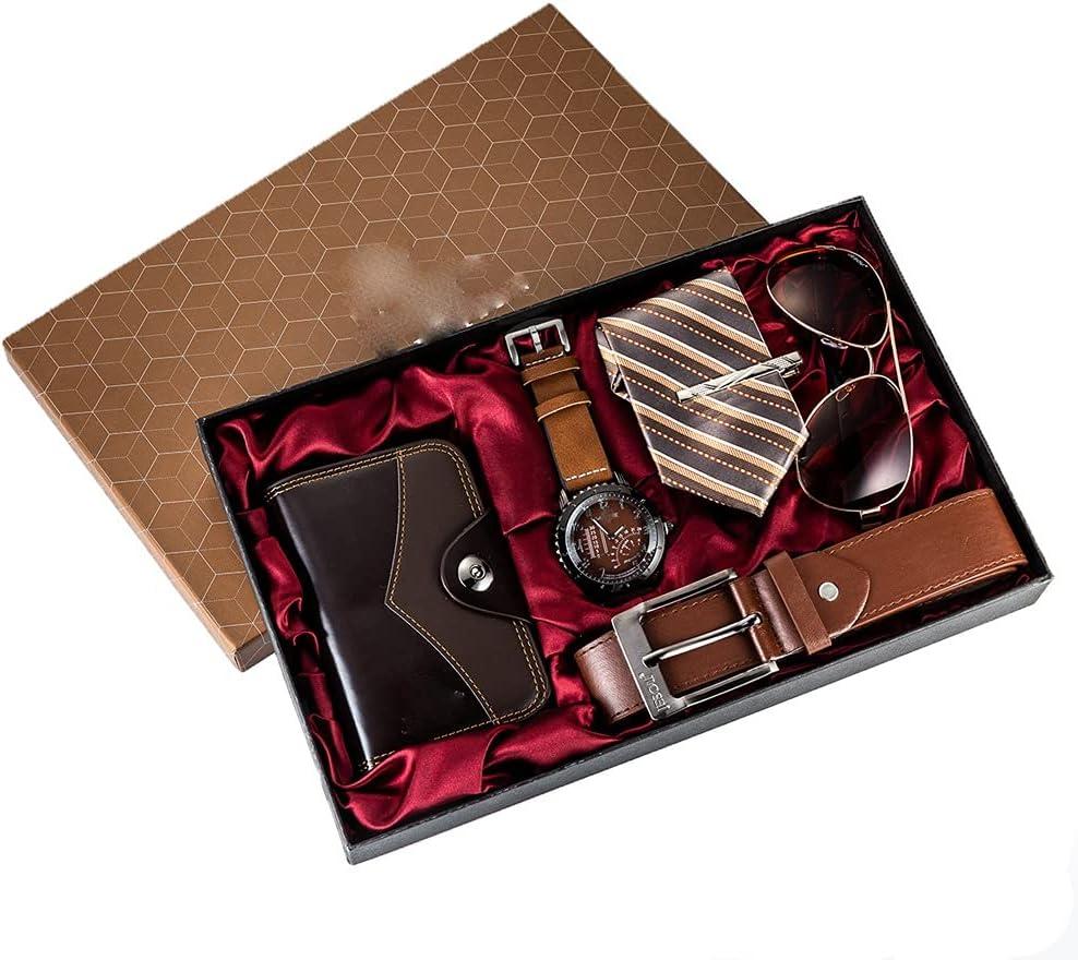 JJZXD 6 unids/Set Juego de Regalo para Hombres Relojes bellamente empaquetados + Billetera con cinturón de Gafas Moda Creativa Reloj de Cuarzo Masculino para Hombres Horas de Reloj