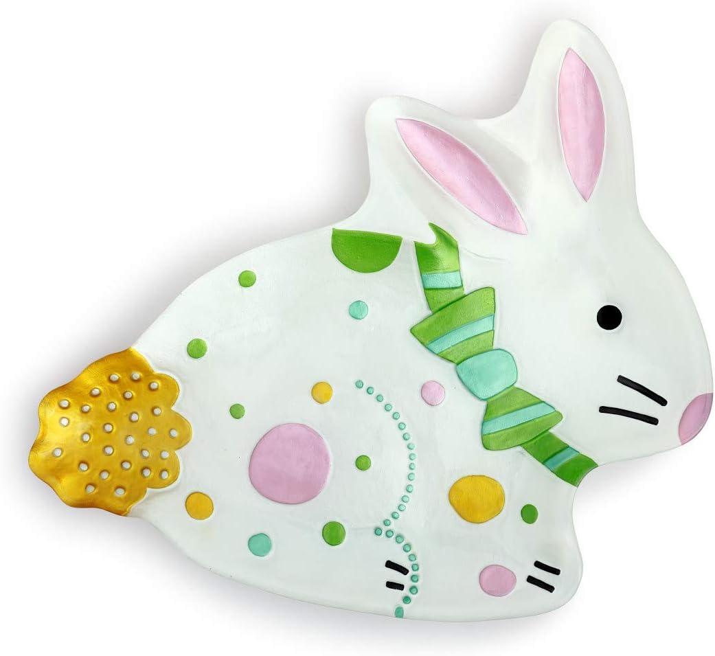 Price supreme reduction Polka Dot Easter Bunny Pastel White 13 Shaped x Vibrant 14 Glass