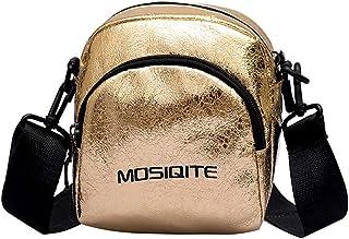 Wultia - Crossbody Bags for Women Handbags Fashion Burst Crack Zipper Handbag Shoulder Bags Pu Leather Messenger Shoulder Clutches Gold