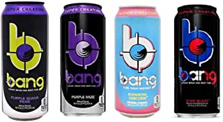 VPX Bang Variety - Rainbow Unicorn, Starblast, Purple Guava Pear, Purple Haze 16fl.oz. (Pack of 8)