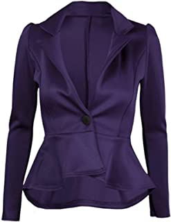 Womens Plain Crop 1 Button Peplum Frill Blazer Jacket Coat