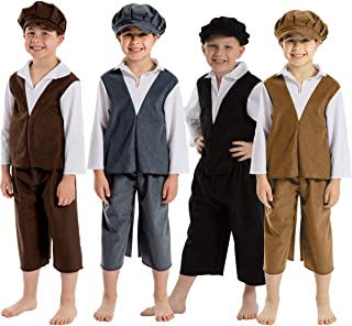 Victorian Boy Costume for Kids 5-11 Years | Four Colours | Three Sizes.