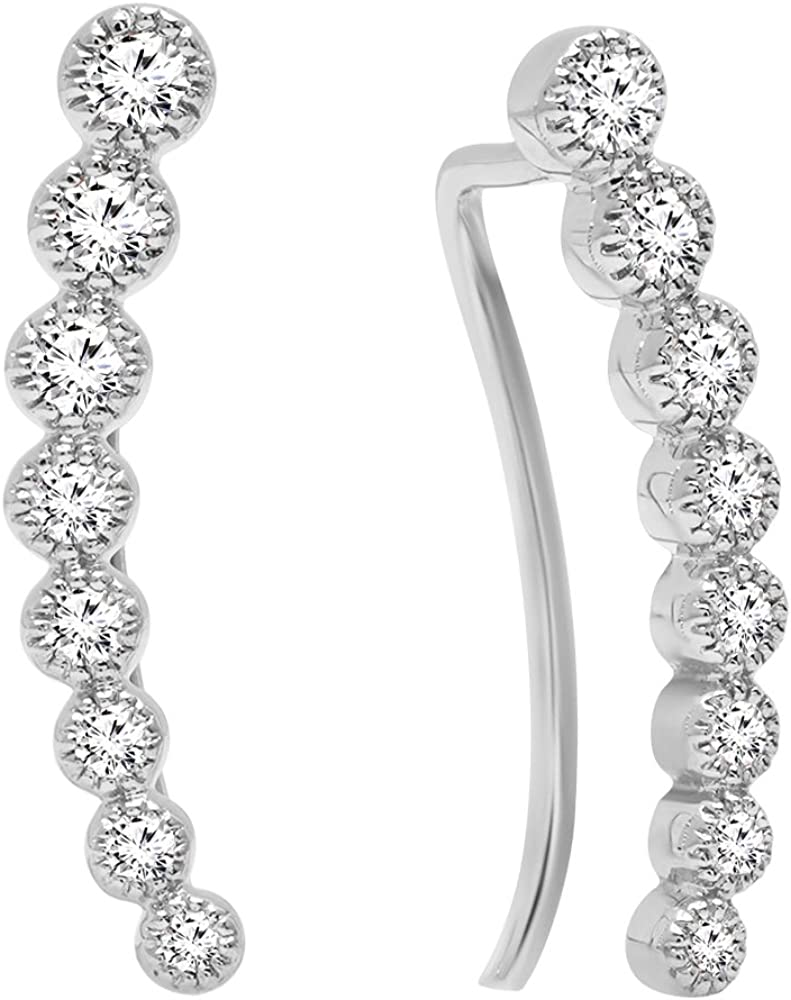Dazzlingrock Collection 0.40 Carat (ctw) 14K Gold Round White Diamond Ladies Journey Curved Climber Earrings