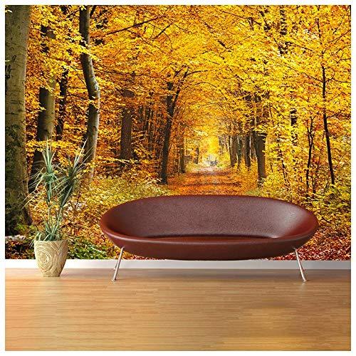 azutura Herbst Gelbe Bäume Fototapete Waldweg Tapete Wohnzimmer Dekor Erhältlich in 8 Größen Riesig Digital