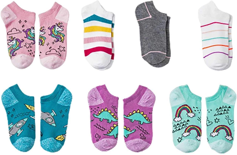 Cat & Jack Girls' 7pk Multi-color No Show Socks Medium hoes Size 9 - 2.5