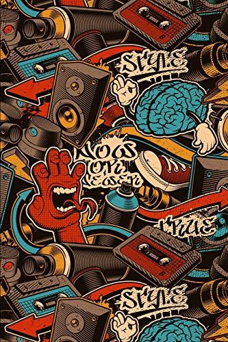 Notizbuch: Graffiti Cover Design / 120 Seiten / Punktraster / DIN A5 + (15,24 x 22,86 cm) / Soft Cover / Optimal als Malbuch, Skizzenbuch, Tagebuch, Bullet Journal usw.