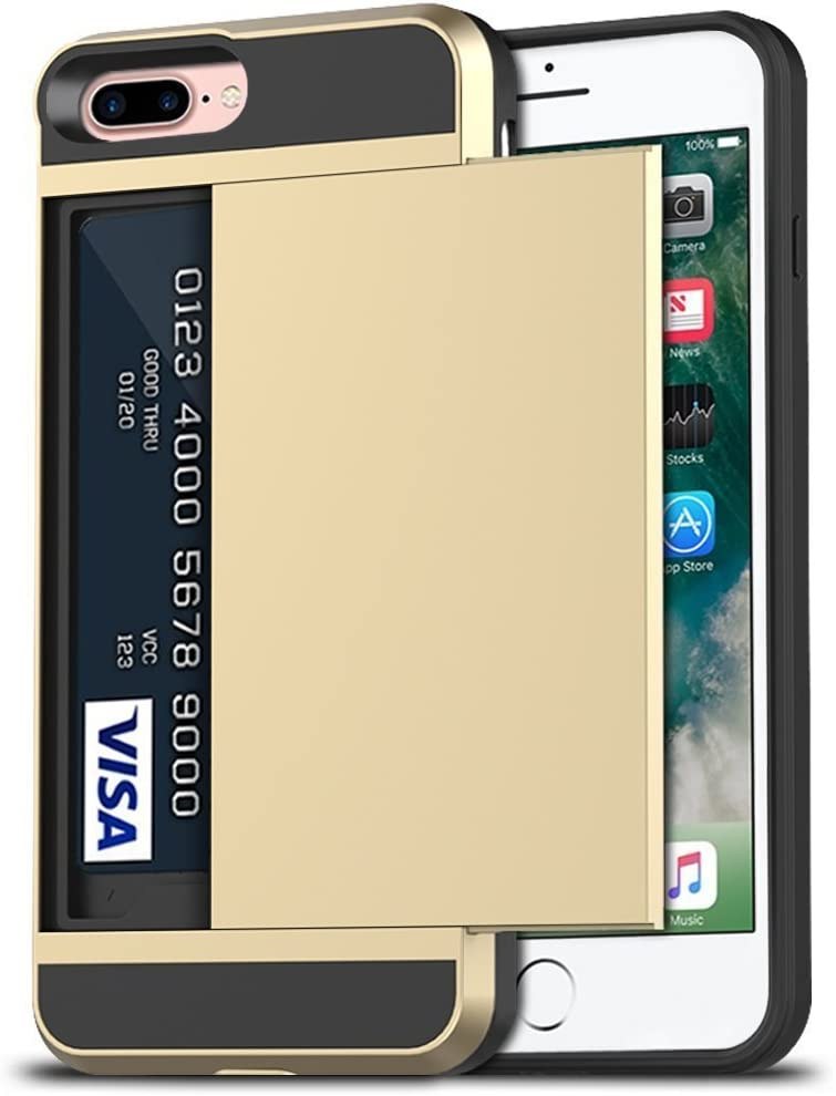 Anuck Case for iPhone 7 Plus Case, for iPhone 8 Plus Case, Shockproof Wallet Case [Card Pocket][Slide Cover] Anti-Scratch Protective Shell Armor Rubber Bumper Case with Card Slot Holder - Gold