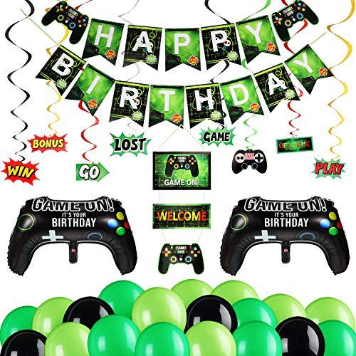 54 Artículos de Fiesta de Videojuegos, Incluye Banner de Juego Happy Birthday Decoración Colgante Game On Welcome 32 Globos de Fiesta de Videojuegos 20 Remolinos Colgantes Temáticos de Juego