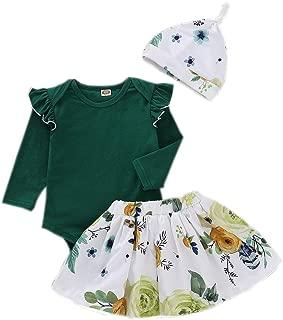 Newborn Infant Baby Girls Autumn Cotton Tops Romper Floral Dress Outfits Set Clothes
