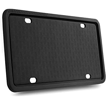 License Plate Frames - Silicone License Plate Frame with Patented Design 5 Drainage Holes, Rain-Proof, Anti-Rust and Anti-Rattle for Car License Plate Frame