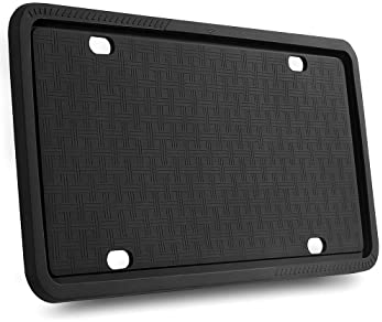 License Plate Frames - Silicone License Plate Frame with Patented Design 5 Drainage Holes, Rain-Proof, Anti-Rust and ...