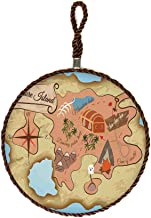 Housewarming Gift from Friend Ancient Treasure Map of Tropical Beach with Chest Key Mystical World Theme Stone Trivet for Teapot/Hot Pot Holders,Set of 3,Round 6.3 Inch Cream Pink Blue