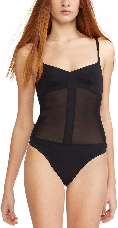 Cynthia Rowley Womens Lola Scuba Mesh Inset OnePiece Swimsuit