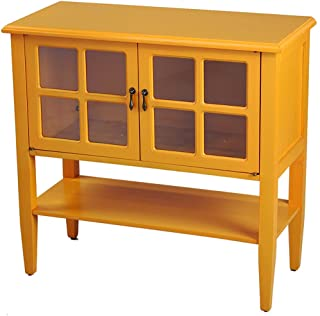 Heather Ann Creations Modern 2 Door Accent Console Cabinet with 4 Pane Glass Insert and Bottom Shelf Orange