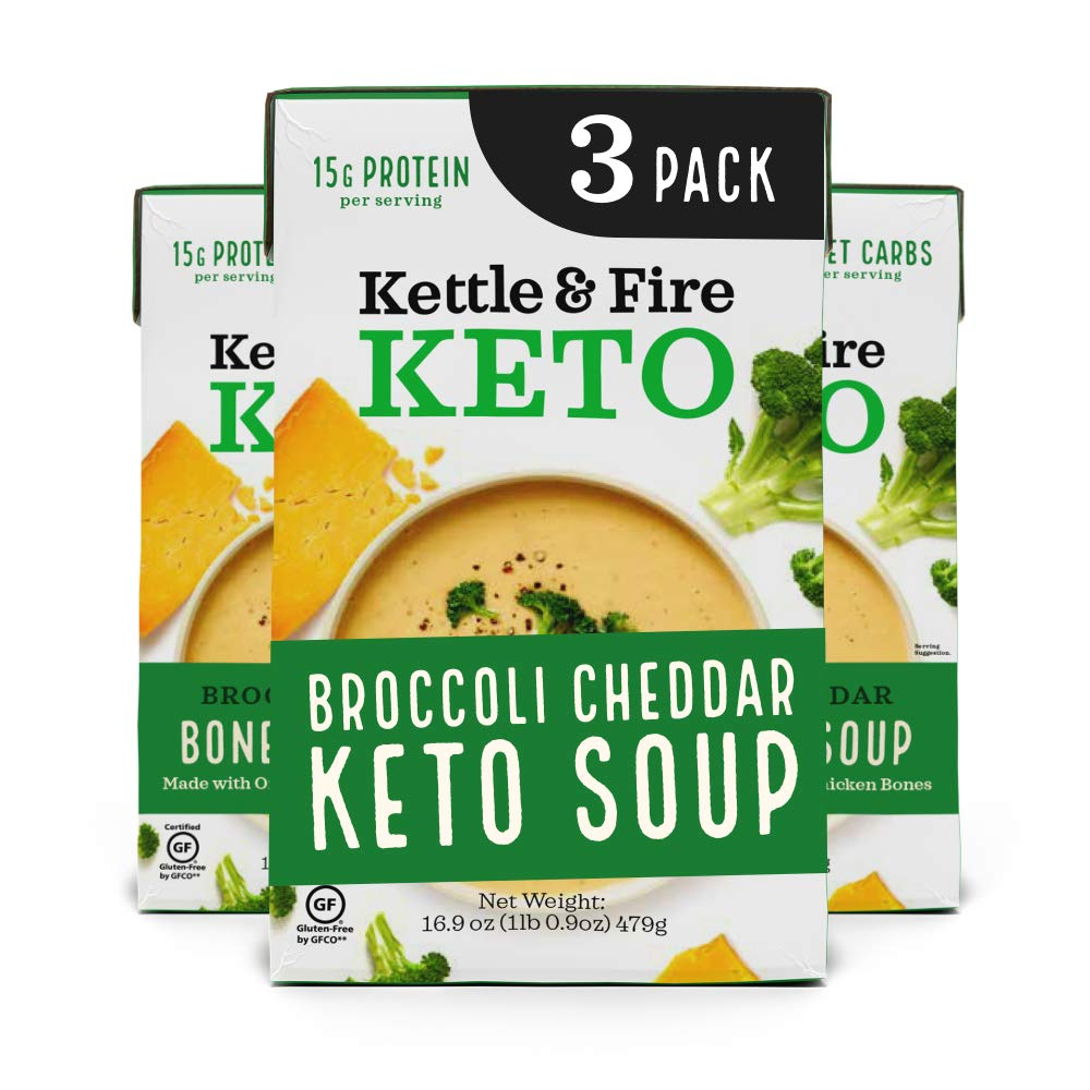 Kettle and Fire Broccoli Cheddar Keto Soup, Keto, Paleo Friendly, Gluten Free, High in Protein and Collagen, 3 Pack