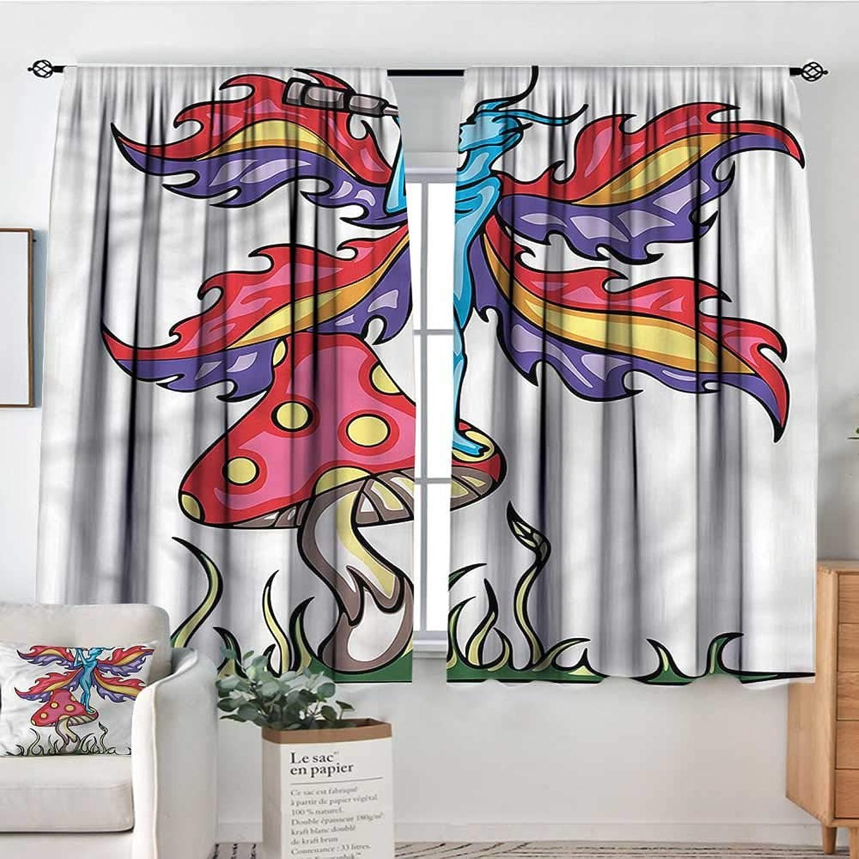 Anzhutwelve Mushroom,Drapery Fairy Elf on a Mushroom 42 X63  Picture Print Decor Curtains