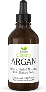 Clearly ARGAN, Best 100% Pure Organic Moroccan Argan Oil - Anti Ageing Cold Pressed Moisturiser for Hair, Skin, Body, Scalp, Nails. Healthy Hair Growth and Dry Skin Treatment (120ml)