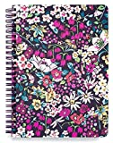 Vera Bradley Floral Mini Spiral Notebook, 8.25' x 6.25' with Pocket and 160 Lined Pages, Itsy Ditsy