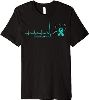 Ovarian Cancer Awareness Shirt Teal Ribbon Heartbeat Gift Premium T-Shirt