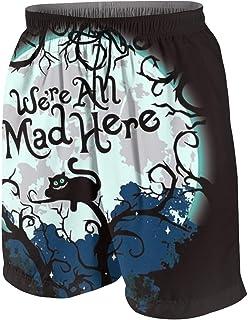 ビーチパンツ 不思議の国 チェシャ猫 アリス 挿絵 ショートパンツ 水着 男の子 海水パンツ 少年 速乾 薄い 夏 スポーツ