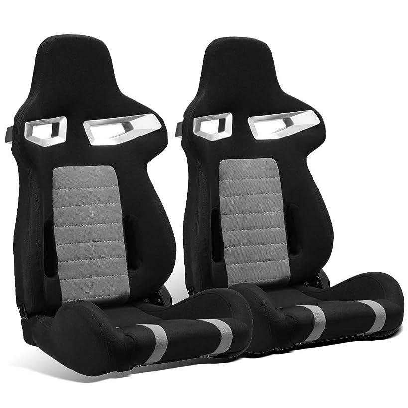 ModifyStreet 1 Pair Universal Black/Grey Pineapple Fabric Racing Bucket Seats