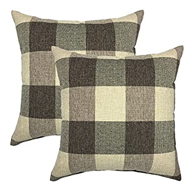 YOUR SMILE Retro Farmhouse Tartan Checkers Plaid Cotton Linen Decorative Throw Pillow Case Cushion Cover Pillowcase for Sofa 18 x 18 Inch, Set of 2, Brown/Khaki