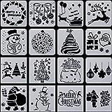 Outus 16 Stück Weihnachten Schablonen Vorlage Schneemann Weihnachtsbaum Rentier Kunststoff