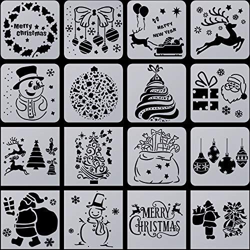 16 Stück Weihnachten Schablonen Vorlage Schneemann Weihnachtsbaum Rentier Kunststoff Schablonen Vorlage für Fenster Glastür Karosserie