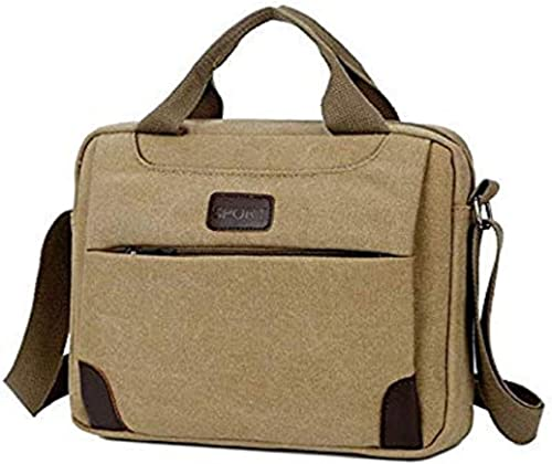 Canvas Multi Compartment Laptop Sleeves Briefcase Messenger Bag Laptop Bag For Men And Women Khaki