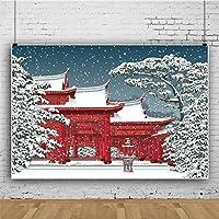 Qinunipoto ビニール 2.7x1.8m 写真撮影の背景 背景布 背景幕 日本のお寺 冬の風景 雪が舞う 赤い建物 和風 スタジオ ブース小道具 背景 画面 装飾布 多機能 子供やペットの写真撮影用 休暇 写真 スタジオ小道具
