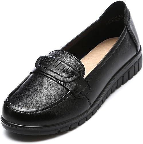 zapatos de mujer piel genuina Ponerse Plano Antideslizante Suelas blandas Mocasín Oficina y carrera Bailarina Tamaño 35 a 39