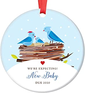 Expecting Parents Christmas Ornament Baby Due 2020 Baby Shower Holiday Gift Pregnancy Announcement Cute Bluebird Family Newborn Infant Present 3
