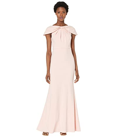 Adrianna Papell Cape Crepe Mermaid Gown